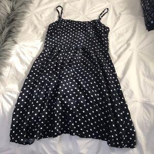 Navy and white polka dots dress